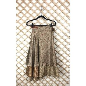 Dresses & Skirts - Satin Paisley Floral Wrap Midi Skirt
